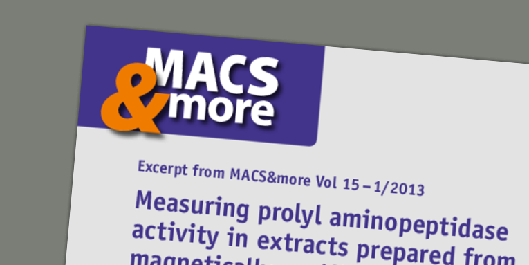 Measuring prolyl aminopeptidase activity in extracts prepared from magnetically purified malaria parasites. da Silva et al. (2013) MACS&more 15(1).