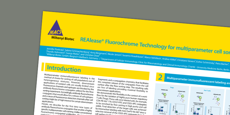 REAlease® Fluorochrome Technology for multiparameter cell sorting. Pankratz et al. CYTO (2018).