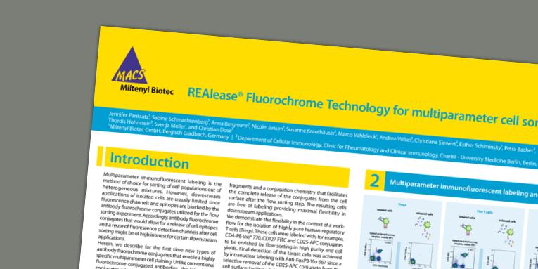 REAlease® Fluorochrome Technology for multiparameter cell sorting. Pankratz et al. CYTO (2018).