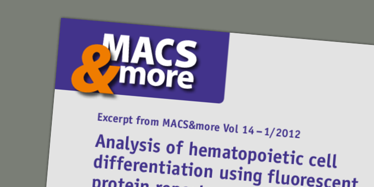 Analysis of hematopoietic cell differentiation using fluorescent protein reporters and multicolor flow cytometry. Kueh and Diamond (2012) MACS&more 14(1).