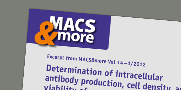 Determination of intracellular antibody production, cell density, and viability of recombinant CHO-DG44 cells using the MACSQuant Analyzer. Pluschke et al. (2012) MACS&more 14(1).