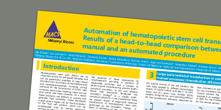 Automation of hematopoietic stem cell transduction: Results of a head-to-head comparison between a manual and an automated procedure. Bissels, U. et al. (2019) ESGCT