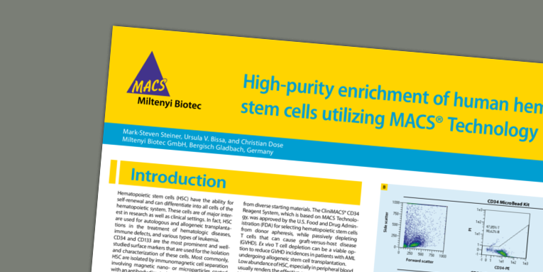 High-purity enrichment of human hematopoietic stem cells utilizing MACS® Technology