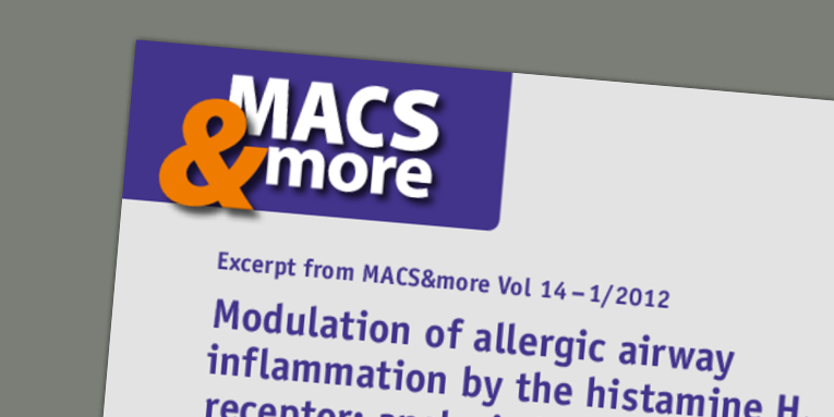 Modulation of allergic airway inflammation by the histamine H4 receptor: analysis by flow cytometry. Hartwig et al. (2012) MACS&more 14(1).