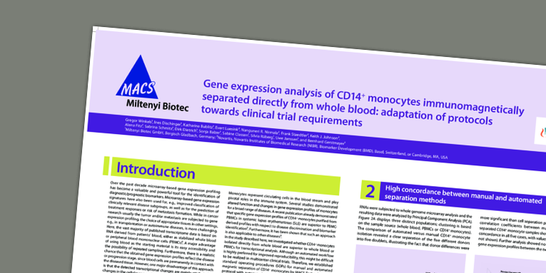 Gene expression analysis of CD14+ monocytes  immunomagnetically separated directly from whole blood: adaptation of protocols towards clinical trial requirements