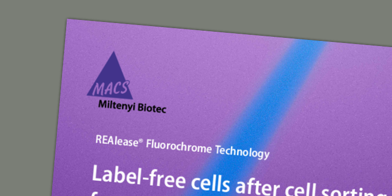 REAlease® Fluorochrome Technology - Label-free cells after cell sorting for maximal flexibility